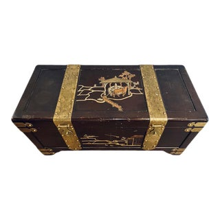Asian Dowry, Blanket or Storage Chest, Bronze Decorated J. L. George For Sale