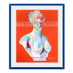 Greek Bust III by Jennifer Sparacino in Blue Translucent Acrylic Shadowbox, Small Art Print