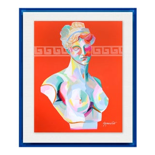 Greek Bust III by Jennifer Sparacino in Blue Translucent Acrylic Shadowbox, Small Art Print For Sale