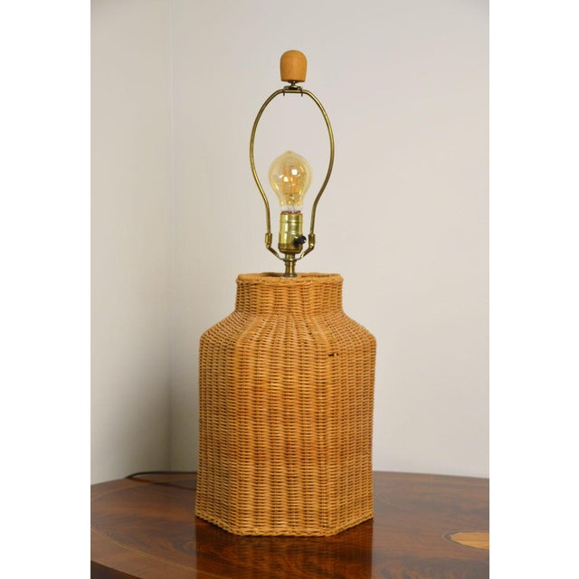 Boho Chic Vintage Wicker Lamp and Shade For Sale - Image 3 of 9