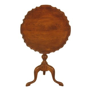 1950s Chippendale Solid Maple Tilt Top Pie Crust Table For Sale