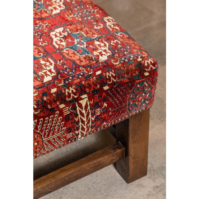 Large Scale Ottoman Upholstered With a Vintage Rug Textile For Sale - Image 9 of 13