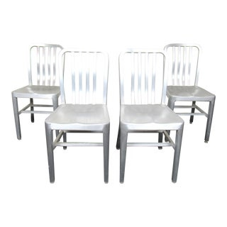 Set of Four Metal Dining Chairs For Sale