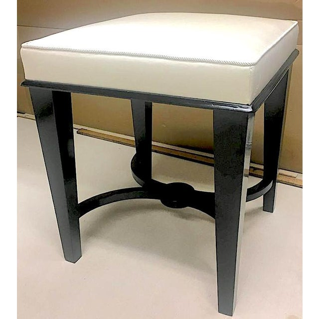 Silk Andre Arbus Superb Pair of Neoclassic Stool Newly Covered in Silk For Sale - Image 7 of 9