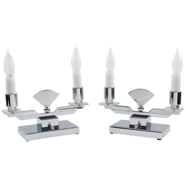 French Art Deco Modernist Chrome Table Candle Lamp, a Pair For Sale