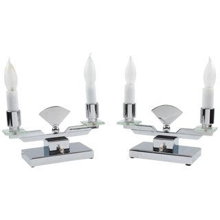 Pair of French Art Deco Modernist Chrome Table Candle Lamps For Sale