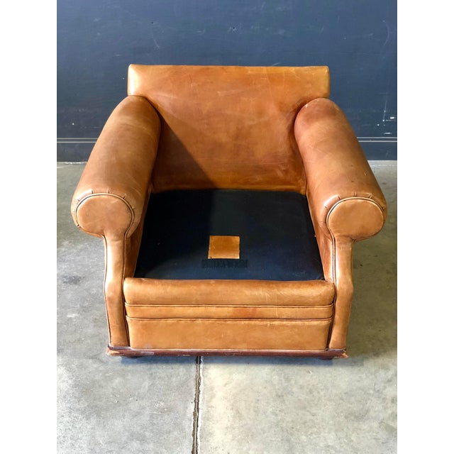 Leather Vintage Ralph Lauren Camel Leather Chair For Sale - Image 7 of 10