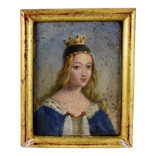 19th Century French Gold Leaf Framed Oil on Gesso Board Painting - Crowned Noblewoman For Sale