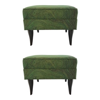 Modern Green Abstract Diva Ottomans Pair By: Currey & Company For Sale