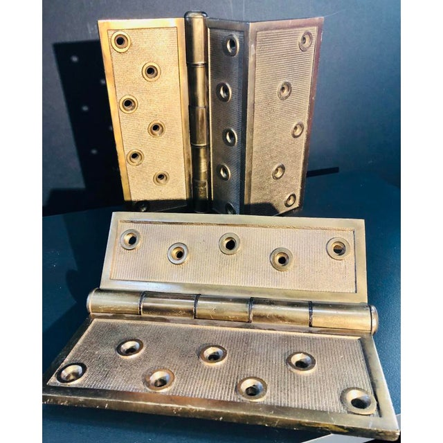 Industrial H&d Mf'G Co. 1877 Old Solid Bronze Hinges - a Pair For Sale - Image 3 of 6