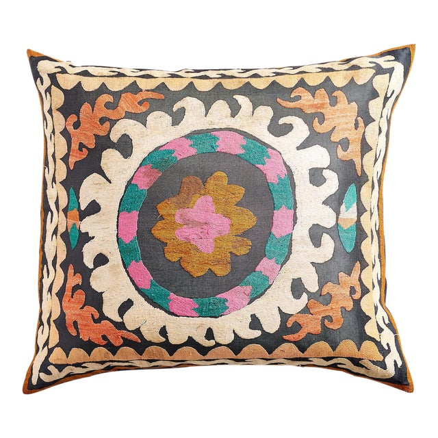 Large Suzani Pillow With Filler - Image 1 of 5