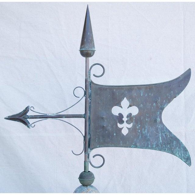 Vintage Copper Fleur de Lis Weathervane With Stand For Sale - Image 4 of 11