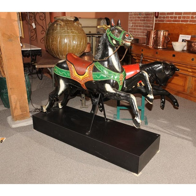 Green French Antique Carved & Painted Carousel Horse For Sale - Image 8 of 8