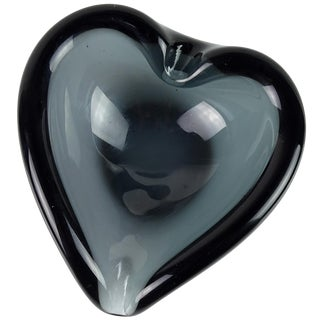 Murano Sommerso Dark Gray Heart Shaped Italian Art Glass Dish Ashtray For Sale