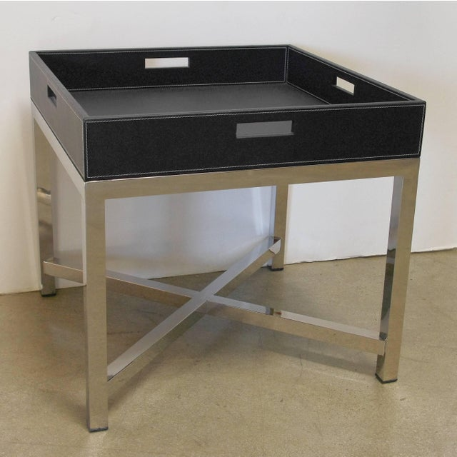 Black leather and stainless steel tray table designed by Fabio Bergomi for Fabio Ltd / Made in Italy 1 in stock in Palm...
