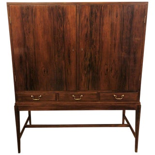 Two-Door Over Three-Drawer Mid-Century Modern Brazilian Rosewood Cabinet Chest For Sale