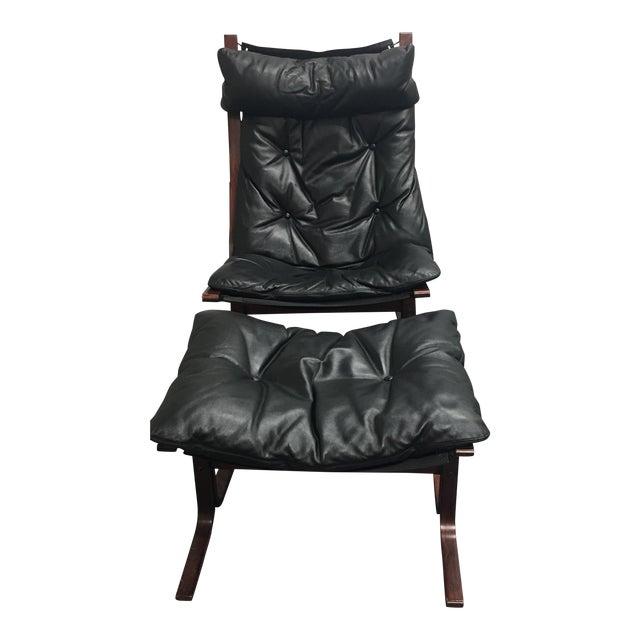 Westnofa Furniture Mid-Century Leather & Teak Chair & Ottoman - Image 1 of 8