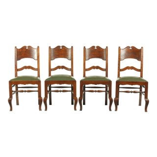 French Mission-Style Set of 4 Oak Dining Chairs With Vintage Green Upholstery For Sale