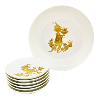 1960s Rosenthal Studio Line Porcelain and Gold Primavera Set in Box by Wiinblad - 7 Pieces For Sale