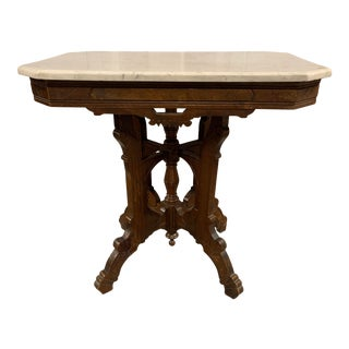 1880's Eastlake Victorian Carrara Marble Top Parlor Table For Sale