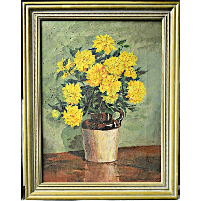 """Yellow Chrysanthemums"" by Irene Putnam Davis - Image 4 of 4"