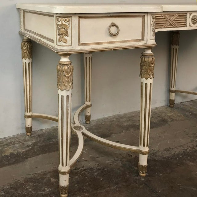 Antique Italian Neoclassical Painted Sofa Table ~ Vanity ~ Writing Desk For Sale - Image 11 of 13