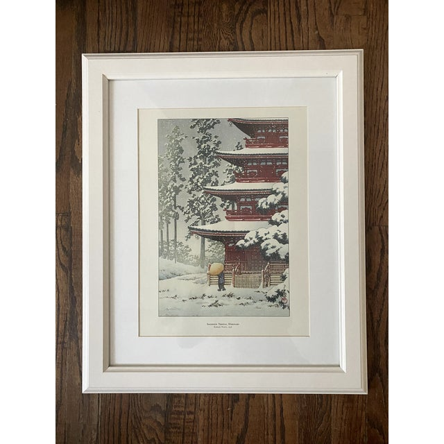 Japanese Framed Japanese Woodblock Reproduction Prints After Kawase Hasui - Set of 2 For Sale - Image 3 of 12