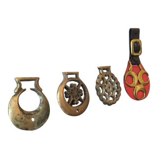 Antique Brass Equestrian Medallions - Set of 4