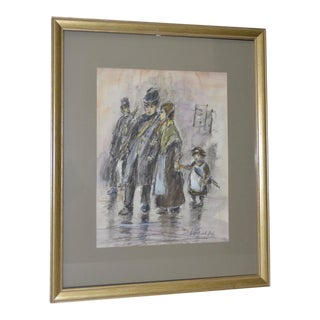 "Louis Van Der Pol ""Family in the Rain"" Original Charcoal & Watercolor Painting For Sale"
