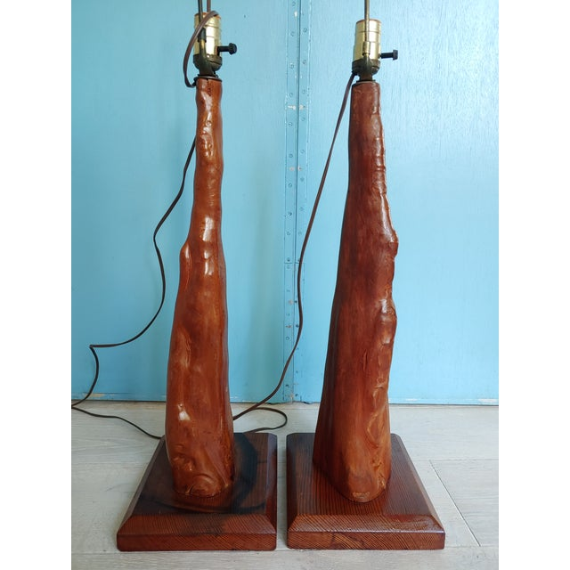 Mid-Century Old Florida Cypress Knee Lamps - a Pair For Sale In Charleston - Image 6 of 11