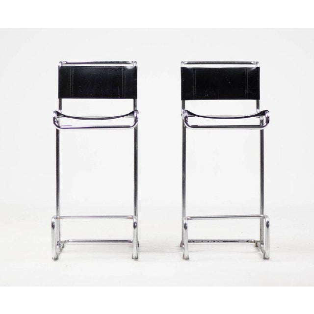 Pair of Leather Bar Stools, Bauhaus, Mart Stam For Sale - Image 10 of 10