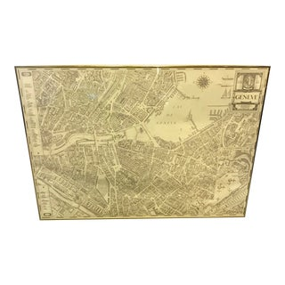 Vintage Framed Geneva Map For Sale