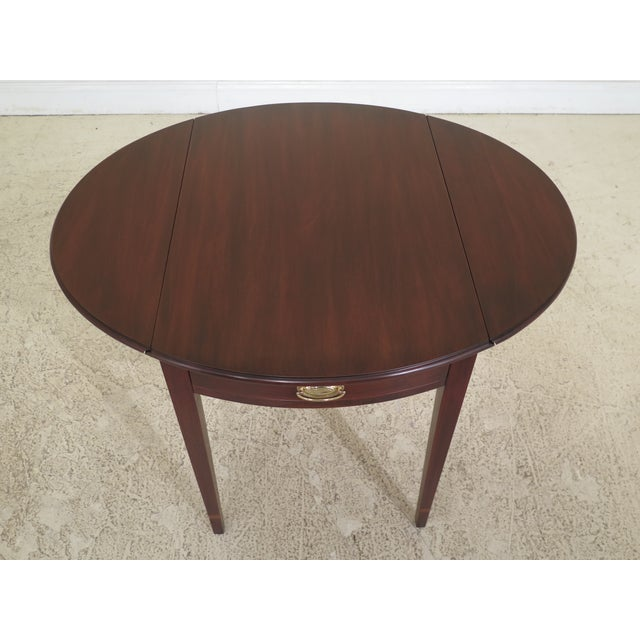 Henkel Harris 1990s Vintage Henkel Harris Mahogany Pembroke End Tables- A Pair For Sale - Image 4 of 12