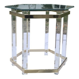 Vintage Charles Hollis Lucite and Brass Hexagonal Side Table For Sale