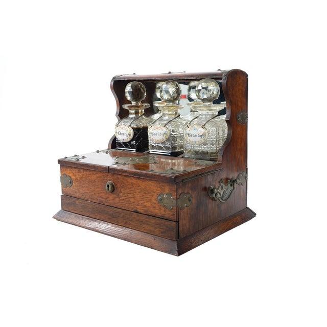 19th C Antique Captain Oak Tantalus & 3 Decanters - Image 2 of 9