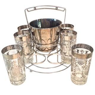 Silver Kimiko Ice Bucket & Glasses - Set of 8 Glasses, Ice Bucket