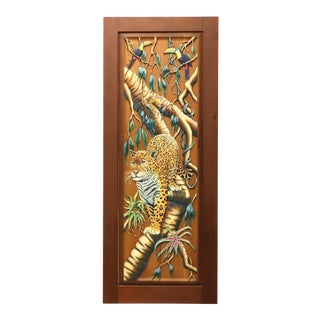 Hand Carved & Painted Honduras Mahogany Door / Panel - Jaguar & Toucans For Sale