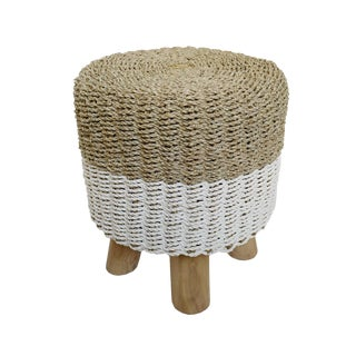 White Dip Seagrass Stool For Sale