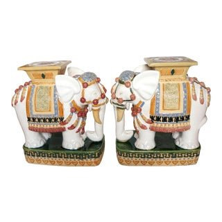Terra Cotta Elephant Garden Stools - a Pair For Sale