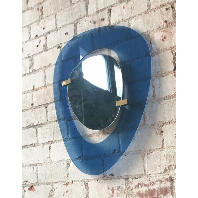 Mid-Century Modern Fontana Arte Rare Light Blue Sculptural Wall Mirror by Max Ingrand, Italy, 1958 For Sale - Image 3 of 9
