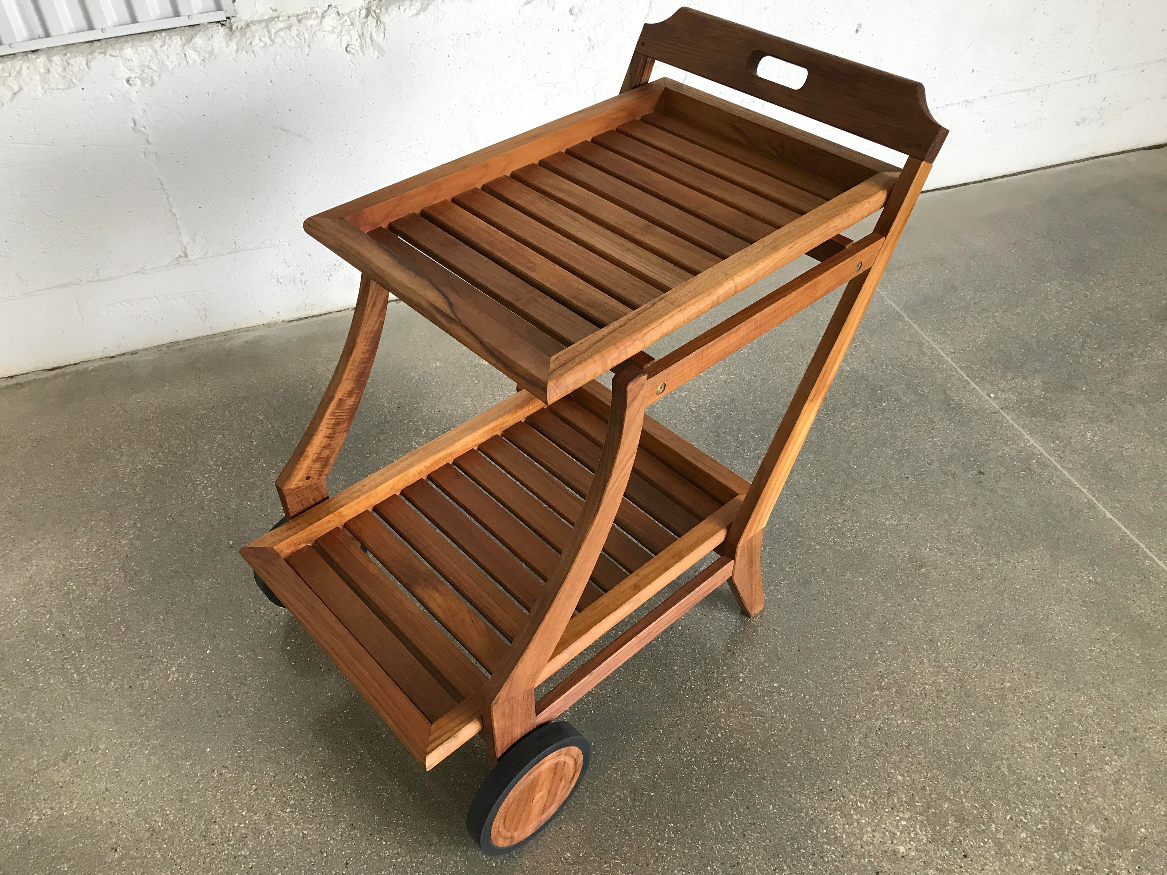 Cheap Restoration Hardware Modern Teak Bar Cart With Removable Tray