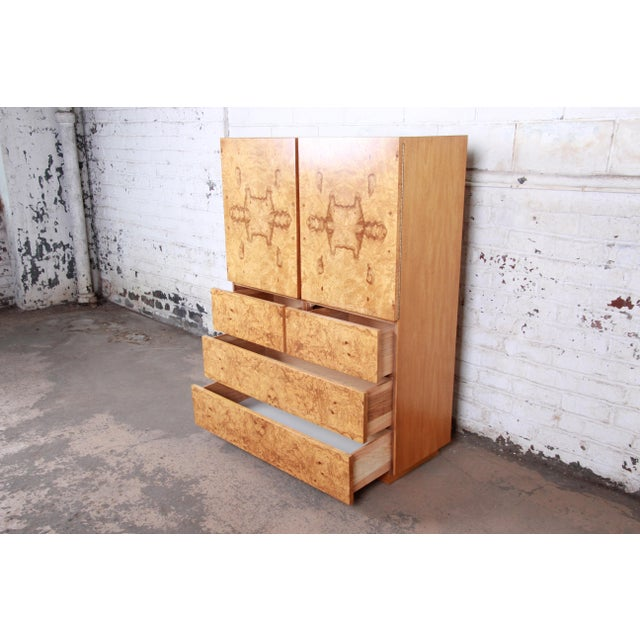 Brown Milo Baughman Style Burl Wood Gentleman's Chest by Lane For Sale - Image 8 of 13