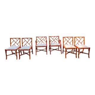 Set of Six Vintage Chinese Chippendale French Rattan Chairs For Sale