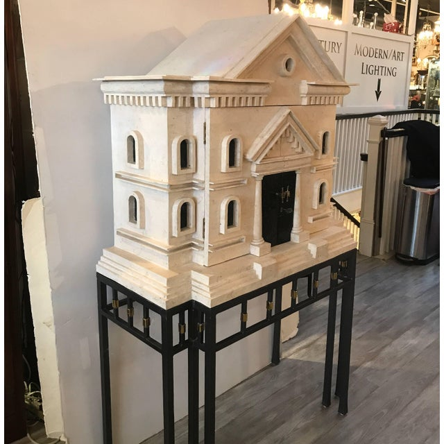Gothic Maitland Smith Greek Revival Sandstone Bar on Stand For Sale - Image 3 of 11