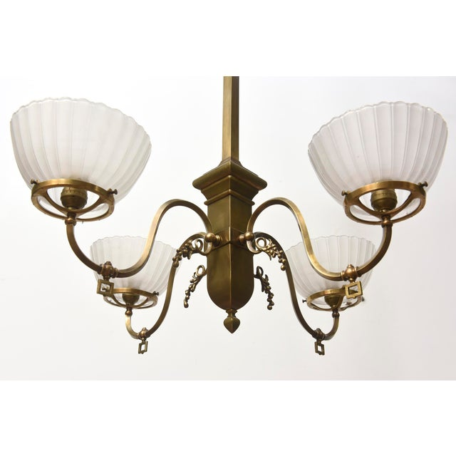 Four Arm Brass Gas Chandelier For Sale In Boston - Image 6 of 11