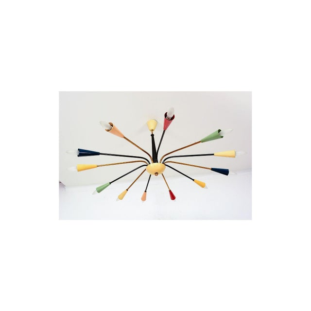 Metal Sputnik Style of Angelo Lelli for Arredoluce Italy Colored Chandelier 1950s For Sale - Image 7 of 11