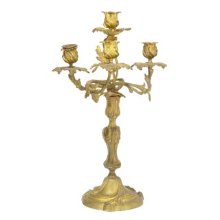 Antique Louis XV Style Gilt Bronze Four Light Candelabra For Sale