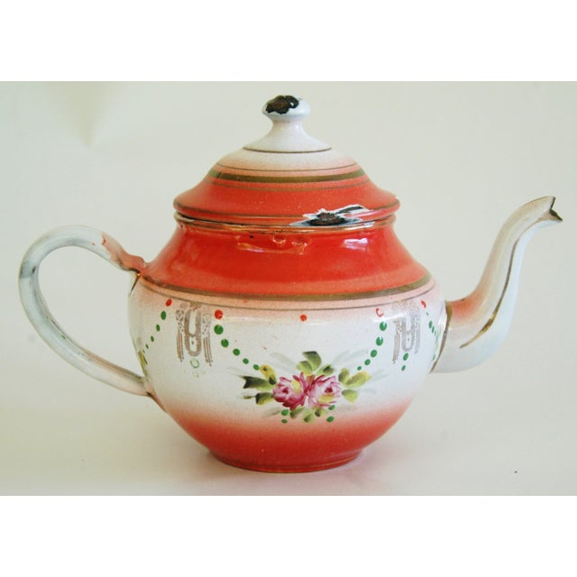 1930s French Enamelware Hand-Painted Teapot - Image 5 of 7