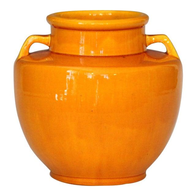 Awaji Pottery Japanese Art Deco Vase With Bright Yellow Monochrome Glaze For Sale