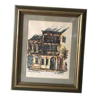Vintage Original New Orleans Art Signed Water Color Print 1970's by Donabeth Jones For Sale
